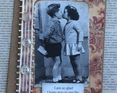 Handmade Vintage Style Greeting Card with Kissing Children