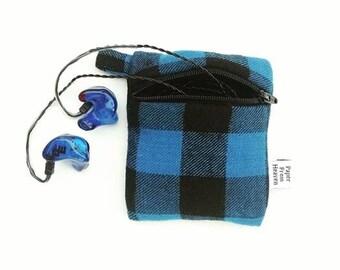 Plaid Mini Essential Oil Zippered Pouch - Blue Buffalo - roller bottle case travel case essential oil storage IEM case, earbud holder