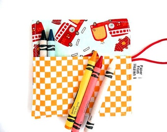 Mini Crayon Roll - Firetrucks- small crayon holder, firetruck party favor, stocking stuffer, toddler gift