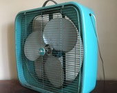 Vintage Industrial Turquoise Dominion Fan