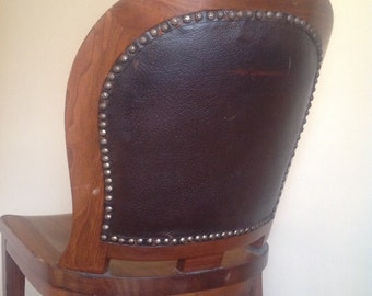 Antique Leather Back Studded Wooden Chair. Needs TLC.