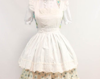 Alice in Wonderland style cotton apron - Lolita Fashion - one size - white, lace