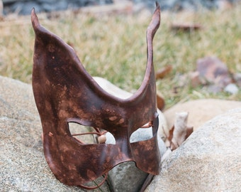 Brown Cat Leather Mask
