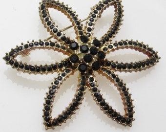 Large Flower Brooch Black Rhinestone Jewelry