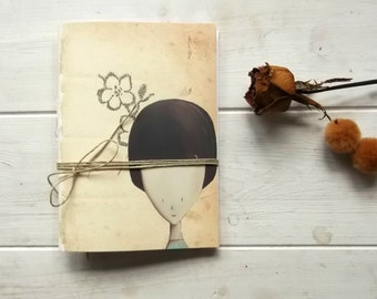 romantic girl pocket journal blank notebook -  hand  binding travel Journal - flowers