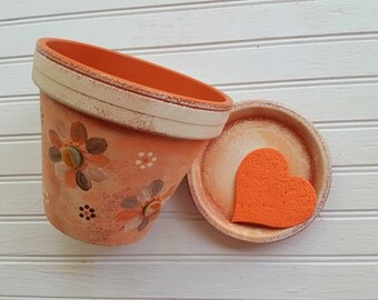 Painted Flower Pot - Orange and Cream - Painted Planter - Garden Gifts - Housewarming Gift