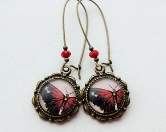 SALE Red Tattered Butterfly Earrings in Antique Brass.