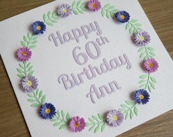 Paper quilling birthday card, personalized with name, 100th, 90th, 80th, 70th, 75th, 60th, 65th, 50th, 40th, 30th, 21st, 18th