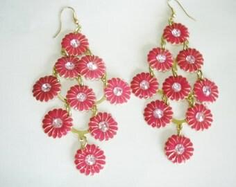 Dangle Fushia Pink Crystal  Dangle Earrings