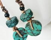 Turquoise Bohemian Leather Dangle Earrings