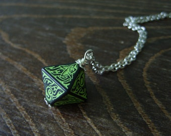 call of Cthulhu necklace D8 dice necklace dungeons and dragons dice jewelry elder sign geek pendant lovecraft pathfinder dice cthulhu