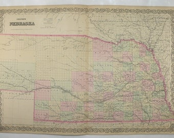 1800s Antique Nebraska Map, 1881 Colton Map of Nebraska State Map, NE Map, Fathers Day Gift for Dad, Man Cave Decor Gift for Him, Large Map