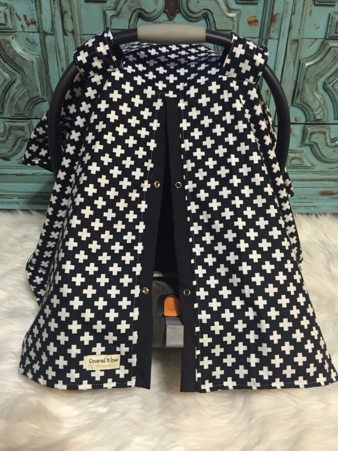 Car Seat Canopy Flannel Black And White Car Seat Cover