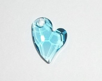 Swarovski Crystal Pendant 17x13mm Devoted 2 U Heart Crystal Pendant -- Aquamarine blue -- 1 piece