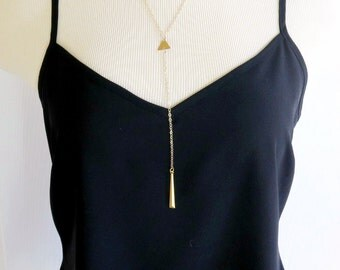 Gold Bar Lariat Necklace, Y Necklace, Geometric Jewelry, Triangle Necklace, Gold Bar Necklace