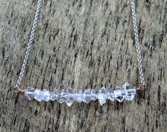 Herkimer Diamond Necklace, Raw Crystal Necklace, Mixed Metal Jewelry, Bar Necklace, Herkimer Diamond Jewelry