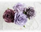 Shades of Purple Mulberry Trellis Roses Set of 4 for Scrapbooking, Cardmaking, Altered Art, Wedding, Mini Album