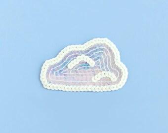 Cloud Sequin Patch - Iridescent White & Blue