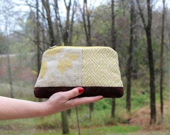Scrap, Patch Zip Pouch with Hand strap, Yellow Leaves and Brown Suede