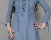 Vtg 60s  Slate Blue Lace Up Mod  Mini Dress