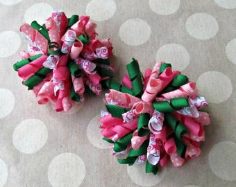 Girl Corker Bows- Korker Bows- Pink & Green Tractors- Baby Girl Bows- Toddler Bows- Pigtail Bows