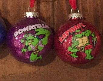 Teenage Mutant Ninja Turtles Christmas ornaments. Set of 4