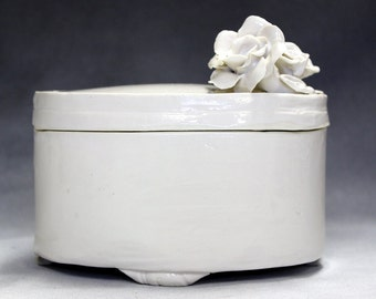 Cremation urn, White box wheel thrown and altered with Roses.