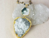 50 OFF SALE Moss Druzy and Moss Agate Necklace – Black Pyrite Chain