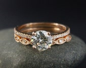 VALENTINES DAY SALE Forever Brilliant Round Moissanite and Vintage Wedding Ring – Vintagae Miligrain Leaf Diamond Band