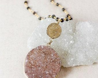 ON SALE Druzy Pendant Necklaces – Choose Your Druzy – Black Pyrite Chain