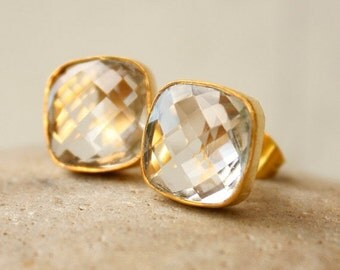 25% OFF Gold Crystal Quartz Square Stud Earrings - Post Setting - Classic Bride