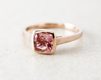 Rose Gold Pink Champagne Tourmaline Ring - Cushion Cut - Engagement Ring