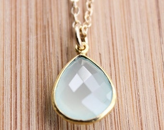 40 OFF SALE Gold Aqua Chalcedony Necklace - Teardrop Necklace - 14KT Gold Fill