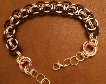 8 inch Chain Maille bracelet, black, pink, and silver