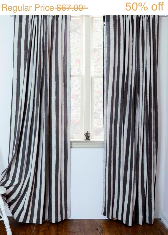"Stripe window curtains window treatment Charcoal window curtain - ONE panel 57"" x 84""/96""/108""L Block Printed Natural dyes Cotton *50% OFF*"