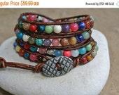 SALE JustHipStuff  Bohemian Gemstone  Beaded Leather Wrap Bracelet
