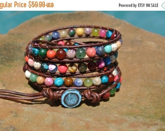 Summer Sale Fiesta Gemstone Beaded Leather Wrap Bracelet