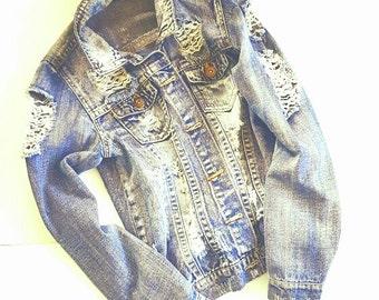 Denim - Jacket - SHREDDED - FRAYED - Grunge - Rock - Boho - Original - Faded - Sz Small - Cotton - Jeans Jacket - Recycled - Eco Friendly