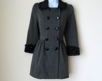 Gray Feminine Jacket - Military Style  - Black Details, Double Breasted, Black Sparkly Buttons, Size Extra Small - Bow Detail, Recycled