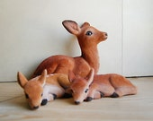 Vintage Flocked Deer Family Doe and Fawn Plastic Toy Figurine Woodland Animals Mother and Babies..
