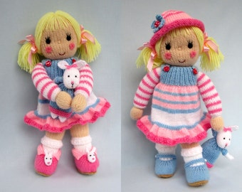 BETSY and her BUNNY knitting pattern with dress, hat, shoes and slippers - Instant Download