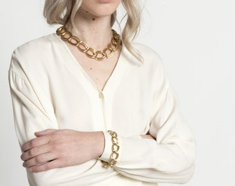 Vintage 80s Chunky Double Chain Link Gold Bracelet