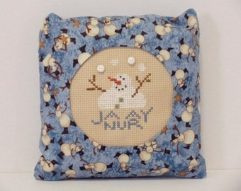 January Snowman Pillow