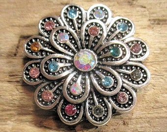 Multi colored rhinestone flower snap charm - Chunk charms - Fits Ginger Snaps, Magnolia Vine, Noosa - 18-20mm - Snap buttons