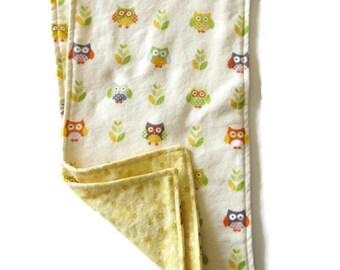 Burp Cloths, Reversible Flannel, Yellow, Set of 2, Soft Burp Cloths, Owl Print, Unisex Baby Shower Gift, Gender Neutral