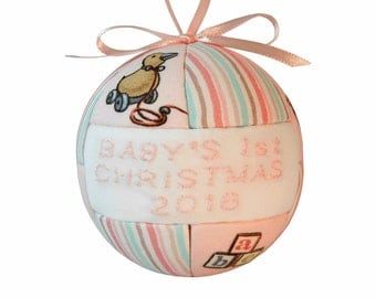 Pink Baby's 1st Christmas 2016 Ornament Handmade Kimekomi Ornament Tree Decoration New Baby Shower Gift Idea by CraftCrazy4U on Etsy