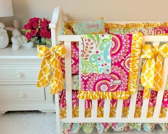 Ritzy Baby Made to Order Custom Baby Bedding, Teja Pink Crib Bedding, Teja Pink Crib Bedding
