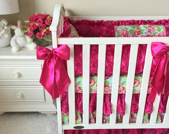 Crib Sets for Girls, Roses Crib Sets, Custom Baby Bedding, Luxury Baby Bedding, Boutique Crib Bedding, Roses Crib Bedding, Fancy Roses