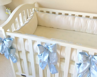 Crib Bumper Boy, Dupioni Silk Crib Bedding, Cream Crib Bumper, Simple Baby Bedding, Beautiful Baby Bedding, Luxury Crib Bedding for Boy