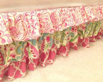 Twin Ruffled Bed Skirt, Full Queen Ruffled Bed Skirt, Children's Bedding, Ruffled Big Girl Skirts